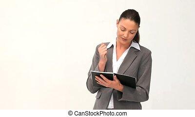 femme affaires, notebok, elle, écriture