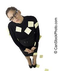 femme affaires, notes, haut, il, poste, rempli