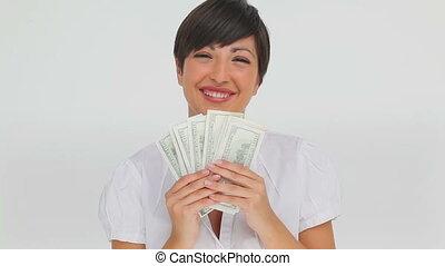 femme affaires, notes, ventilateur, banque, tenue