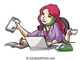 femme affaires, occupé