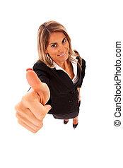 femme affaires, ok, faire gestes, heureux