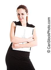 femme affaires, ordinateur portable, caucasien