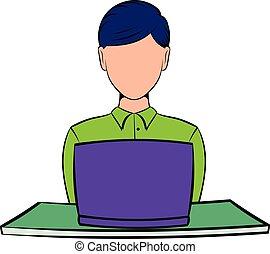 femme affaires, ordinateur portable, dessin animé, utilisation, icône