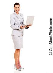 femme affaires, ordinateur portable, jeune