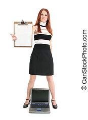 femme affaires, ordinateur portable, presse-papiers