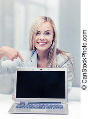 femme affaires, ordinateur portatif