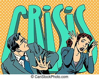 femme affaires, panique, financier, crise, homme affaires