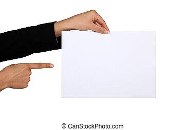 femme affaires, papier, morceau, pointage, vide