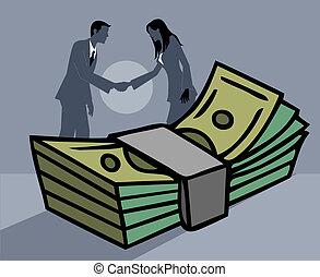femme affaires, paquet argent, papier, mains, devant, homme...