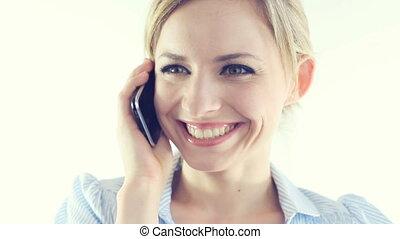 femme affaires, parler, téléphone