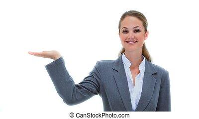 femme affaires, paume, tenue, elle, dehors