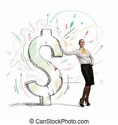 femme affaires, penchant, signe dollar