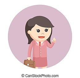 femme affaires, peu, Cercle, fond