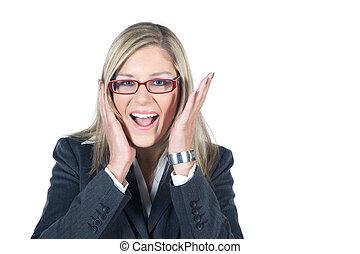femme affaires, peur, crier