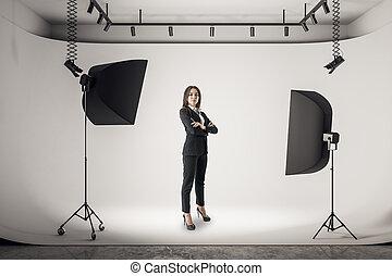 femme affaires, photo studio