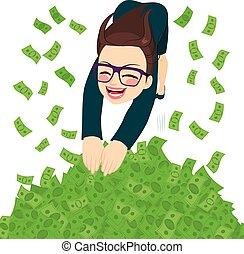 femme affaires, piscine, argent