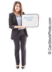 femme affaires, plan, affaires signent