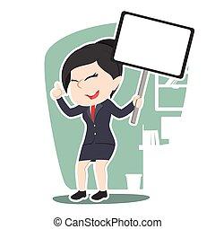femme affaires, planche, asiatique, tenue, signe