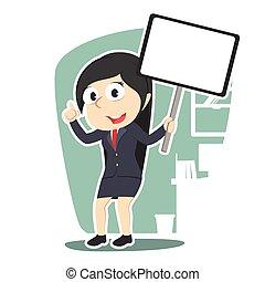 femme affaires, planche, tenue, signe