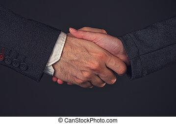 femme affaires, poignée main, bureau, homme affaires