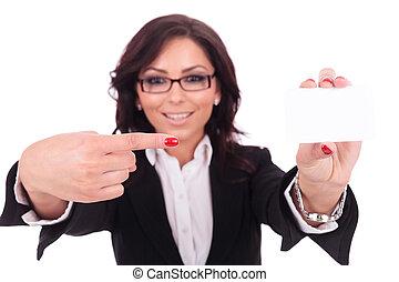 femme affaires, pointage, carte