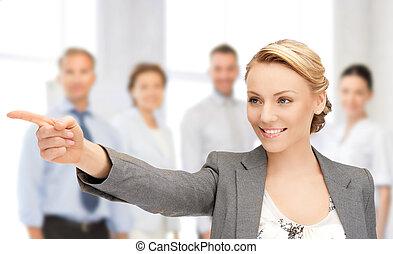 femme affaires, pointage, elle, doigt