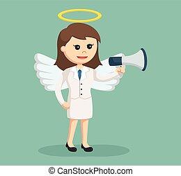 femme affaires, porte voix, ange