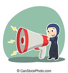 femme affaires, porte voix, arabe, grand, conversation