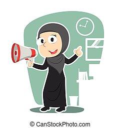 femme affaires, porte voix, arabe, tenue
