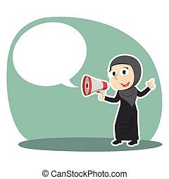 femme affaires, porte voix, callout, arabe