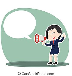 femme affaires, porte voix, callout, asiatique