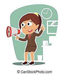 femme affaires, porte voix, callout, indien