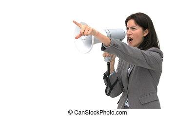 femme affaires, porte voix, par, pointage, cris