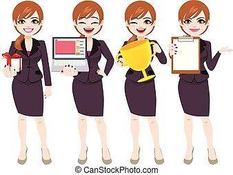 femme affaires, poses, caractère