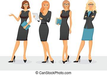 femme affaires, poses, divers