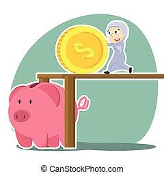femme affaires, pousser, arabe, porcin, grand, banque pièce monnaie