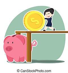 femme affaires, pousser, asiatique, grand, banque pièce monnaie, porcin