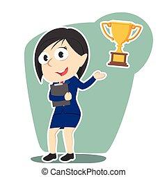 femme affaires, présentation, trophée, illustration, vecteur