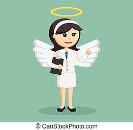 femme affaires, presse-papiers, ange