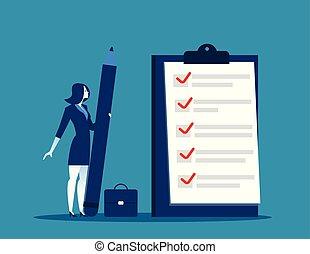 femme affaires, presse-papiers, liste contrôle