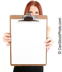 femme affaires, presse-papiers, tenue, vide