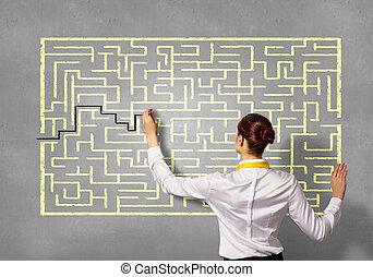 femme affaires, problème résout, labyrinthe
