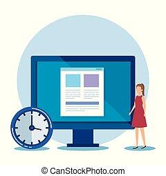 femme affaires, professionnel, document ordinateur, horloge
