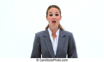 femme affaires, projection, elle, surprise