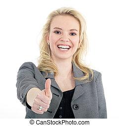 femme affaires, projection, pouces haut