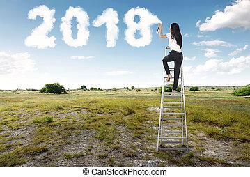 femme affaires, pulvérisation, forme, 2018, utilisation, blanc, escalier, nuage