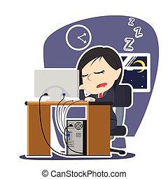 femme affaires, quoique, endormi, fonctionnement, automne