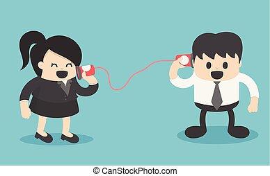 femme affaires, résumé, homme affaires, communiquer