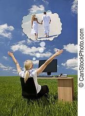 femme affaires, rêvasser, champ vert, bureau