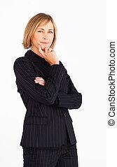 femme affaires, regarder appareil-photo